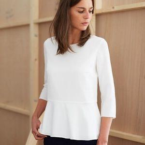 {sezane} white tapered blouse
